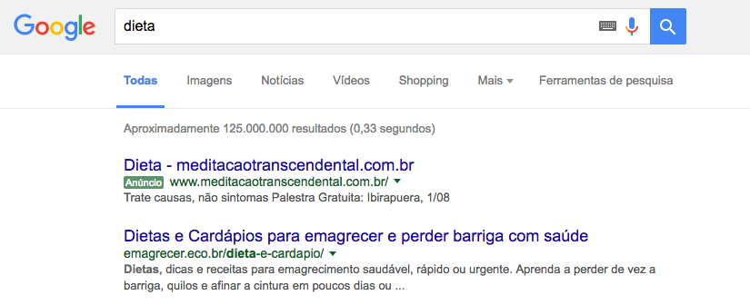 google adwords na busca